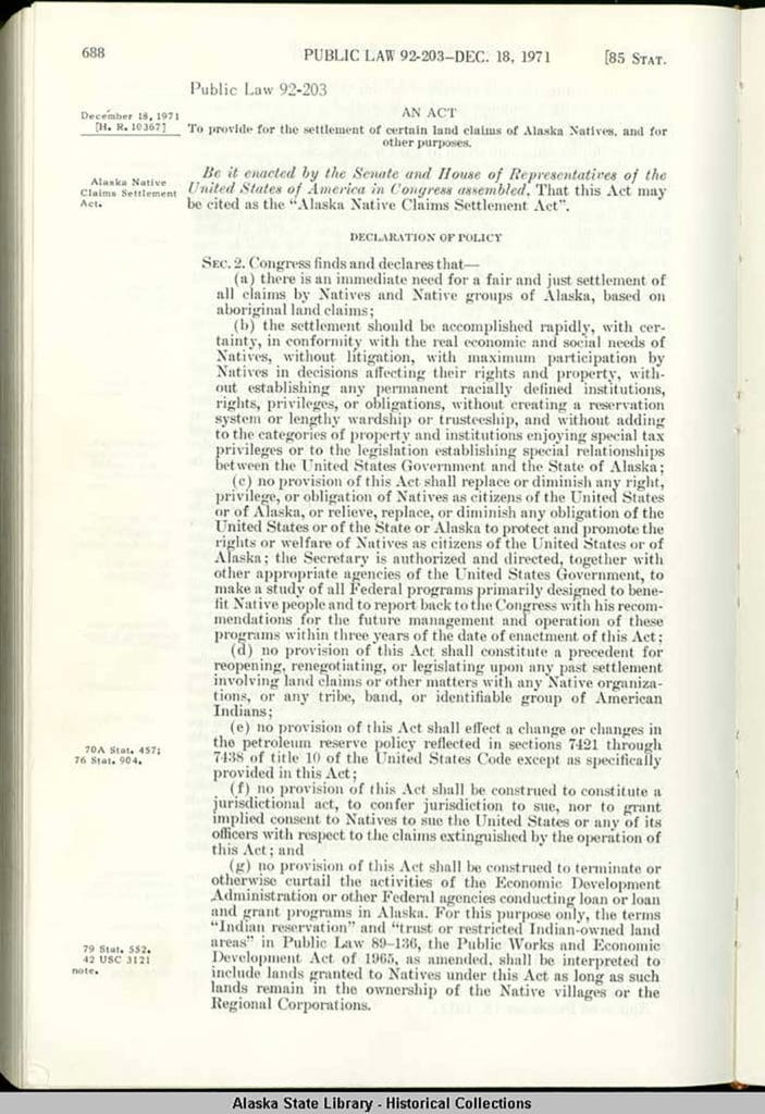 Image of Original Text of the Alaska Native Claims Settlement Act